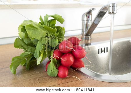 A bunch of washed red radish on the background of a kitchen sink. Fresh washed red radish ready to eat