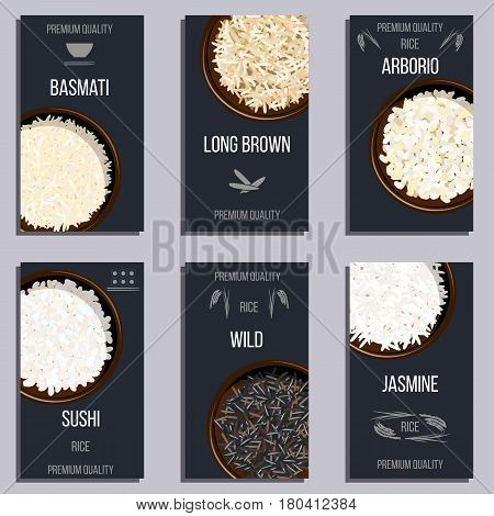Labels set with Different types of rice in pots. Basmati, wild, jasmine, long brown, arborio, sushi. Premium quality text. Vector illustration. top view, For culinary, fastfood, restaurant. Cute tags