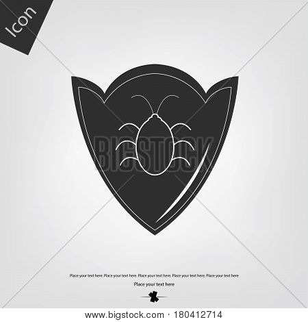 Shield bug vector icon, gray background. Vector illustration.