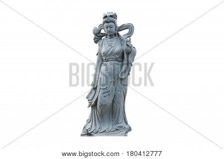 Guan Yin statue stone god of china isolated on white background