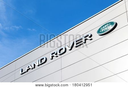 SAMARA RUSSIA - AUGUST 27 2016: Land Rover dealership sign on the office of official dealer. Land Rover is a brand of the British car manufacturer Jaguar Land Rover