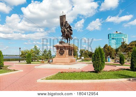 Samara Russia - September 4 2016: Bronze monument to the founder of Samara - Prince Grigory Zasekin at the city embankment in summer sunny day