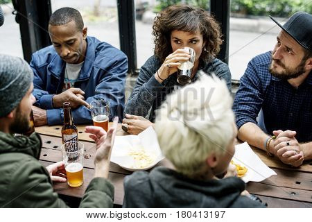 Diverse People Enjoy Food Drinks Party Restaurant
