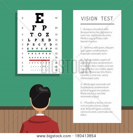 Advertising information banner ophthalmic clinic with space for text, where you can specify the list of services and consultations.