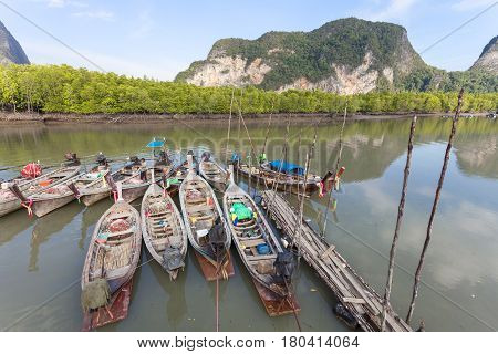 long tail boat for travel island in phang nga thailand
