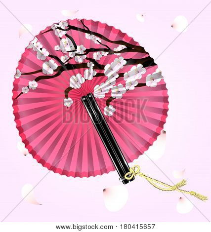 pink background with falling petals and the rounde pink fan cherry blossom