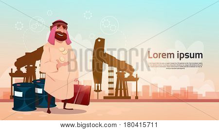 Rich Arab Business Man Oil Trade Pumpjack Rig Platform Black Wealth Concept Flat Vector Illustration