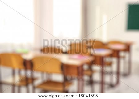 Blurred view of school classroom interior