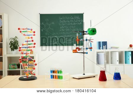 Workplace with different tools in chemistry class
