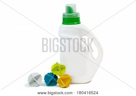 Colorful plastic balls and gel for washing isolated on white background