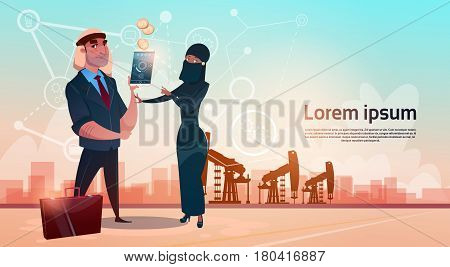 Rich Arab Business Man Oil Trade Pumpjack Rig Platform Black Wealth Concept Flat Vector Illustration