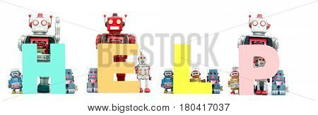 The word   Help held by retro robots isolated on white