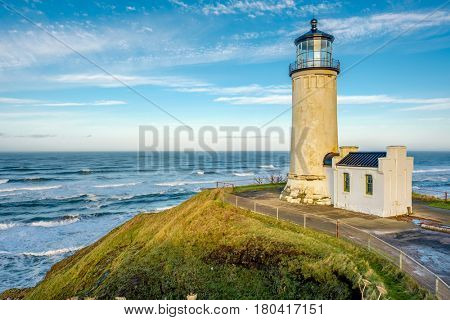 North Head Lighthouse at Pacific coast, Cape Disappointment, built in 1898, WA, USA