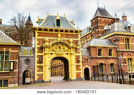 Arch to Binnenhof palace, place of dutch parliament in Hague or Den Haag, Holland, Netherlands
