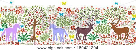 Magic fores with unicorns, deers, flowers and trees.
