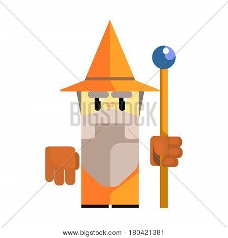 Cute cartoon gnome in an orange hat with a staff in his hands. Fairy tale, fantastic, magical colorful character isolated on a white background
