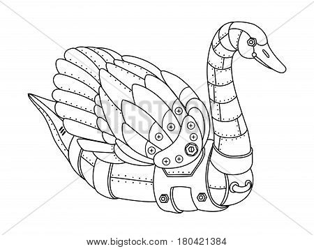 Steam punk style swan. Mechanical animal. Coloring book vector illustration.