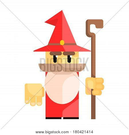 Cute cartoon gnome in a red hat with a staff in his hands. Fairy tale, fantastic, magical colorful character isolated on a white background