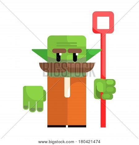 Dwarf with a green face and a staff in his hands. Fairy tale, fantastic, magical colorful cartoon character isolated on a white background