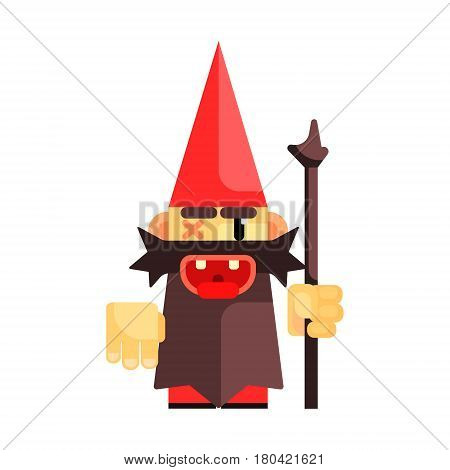 Dwarf in a red hat grimly grins. Fairy tale, fantastic, magical colorful cartoon character isolated on a white background