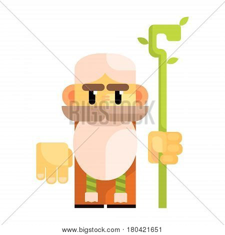 Cartoon bearded gnome with a staff in his hands. Fairy tale, fantastic, magical colorful character isolated on a white background