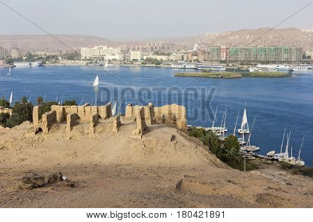 View of a Nubian village in the desert near Aswan Egypt.