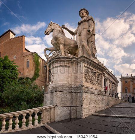 Statue of Castor at the Cordonata Stairs to the Piazza del Campidoglio Square at the Capitoline Hill Rome Italy