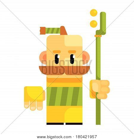 Cartoon gnome with a bald head and a braid on top of the head. Fairy tale, fantastic, magical colorful character isolated on a white background
