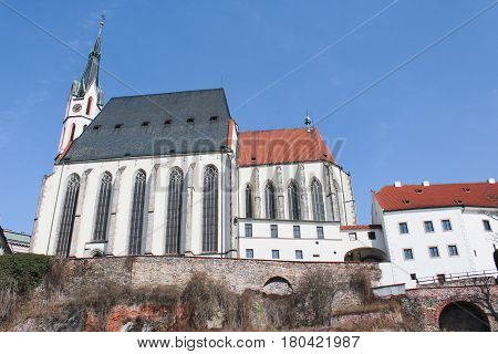 Church in Cesky Krumlov with blue sky