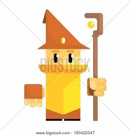 Cute cartoon gnome in a brown hat with a staff in his hands. Fairy tale, fantastic, magical colorful character isolated on a white background