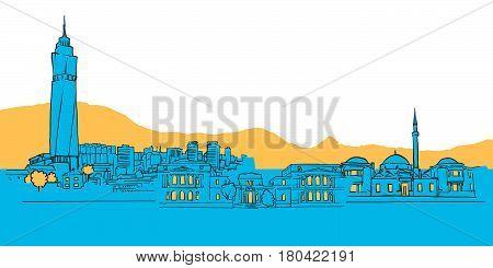 Sarajevo Bosnia And Herzegovina Colored Panorama