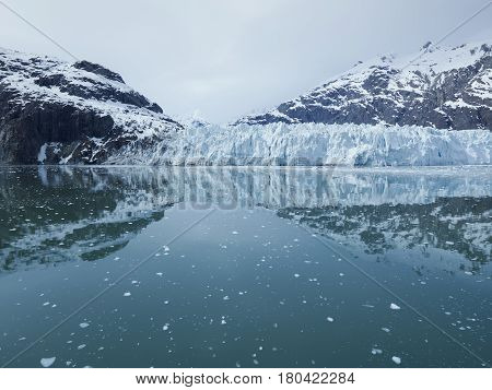 Panoramic view of the Margerie Glacier in Glacier Bay National park Alaska USA