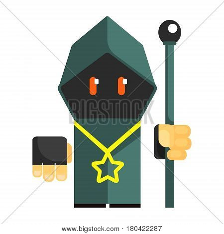 Cartoon mysterious gnome in a gray cape with glowing eyes. Fairy tale, fantastic, magical colorful character isolated on a white background