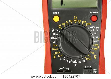 Fragment of a digital multimeter isolated on white background