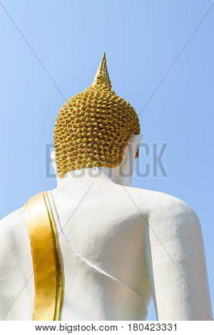 Behind the Buddha statue in thai temple Thailand