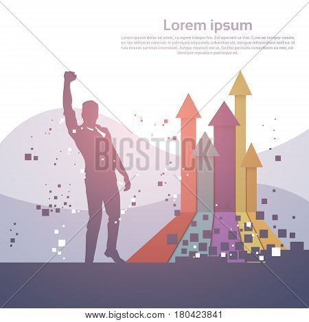Business Man Silhouette Excited Hold Hands Up Raised Arms, Concept Winner Finance Success Vector Illustration