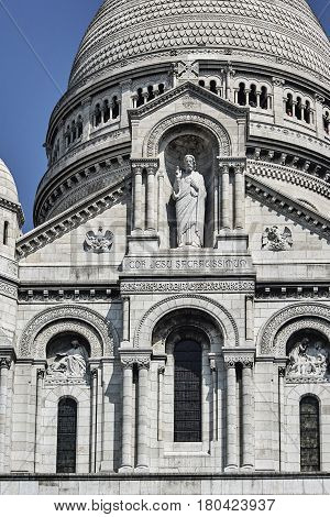 Statue of Christ the Basilica of Sacre-Cour in Paris