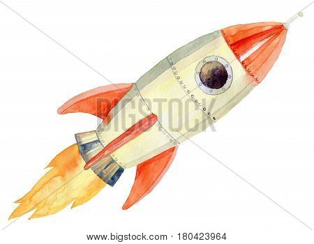 Watercolor painting of flying a rocket into space
