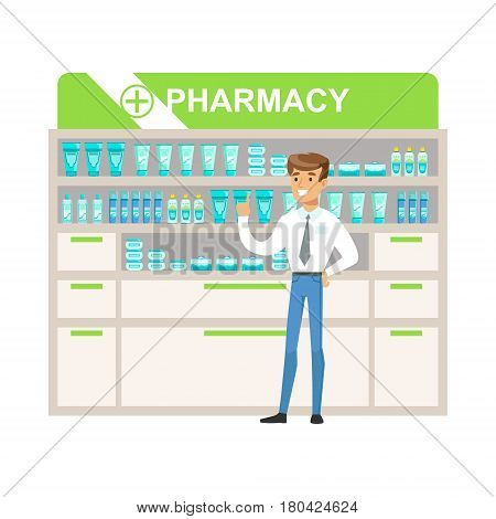 Man Manager In Pharmacy Choosing And Buying Drugs And Cosmetics, Part Of Set Of Drugstore Scenes With Pharmacists And Clients. Vector Cartoon Illustration With Cute Character Shopping For Medicines And Medical Supplies.