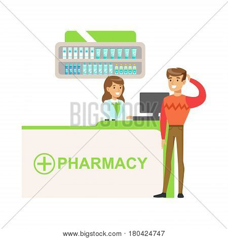 Man In Sweater In Pharmacy Choosing And Buying Drugs And Cosmetics, Part Of Set Of Drugstore Scenes With Pharmacists And Clients. Vector Cartoon Illustration With Cute Character Shopping For Medicines And Medical Supplies.