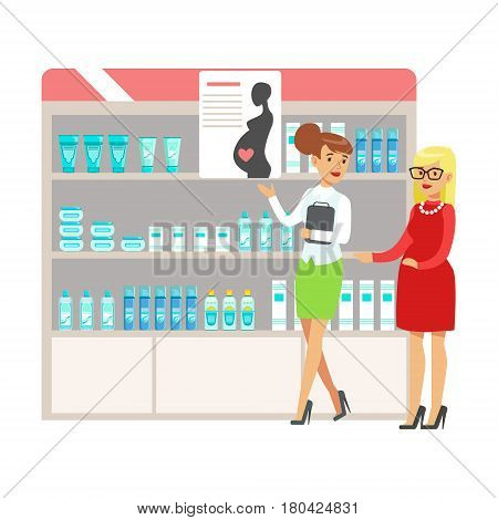Pregnant Woman In Pharmacy Choosing And Buying Drugs And Cosmetics, Part Of Set Of Drugstore Scenes With Pharmacists And Clients. Vector Cartoon Illustration With Cute Character Shopping For Medicines And Medical Supplies.
