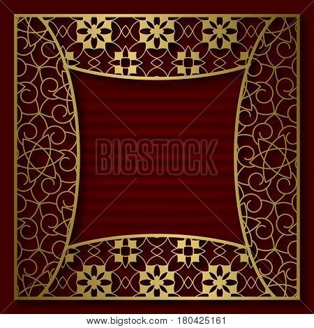 Golden cover background with traditional patterned frame in concave square form.