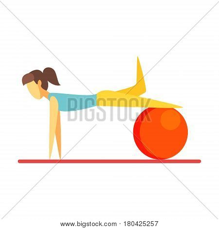 Young slim brunette woman exercising with an orange fitball. Healthy lifestyle and rehabilitation. Colorful cartoon character isolated on a white background