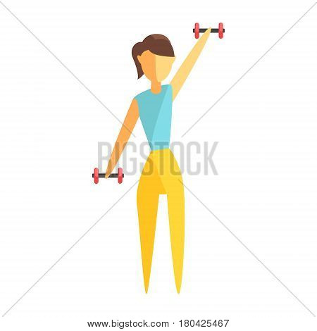 Young woman exercising with dumbbells. Healthy lifestyle and rehabilitation. Colorful cartoon character isolated on a white background