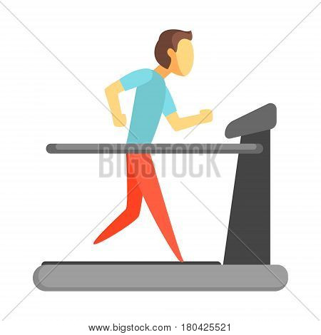 Man running on thread mill. Healthy lifestyle and rehabilitation. Colorful cartoon character isolated on a white background