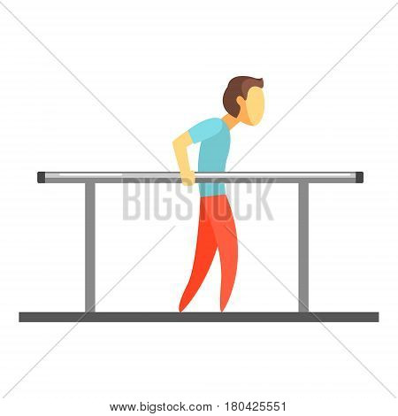 Man exercising on uneven bars. Healthy lifestyle and rehabilitation. Colorful cartoon character isolated on a white background