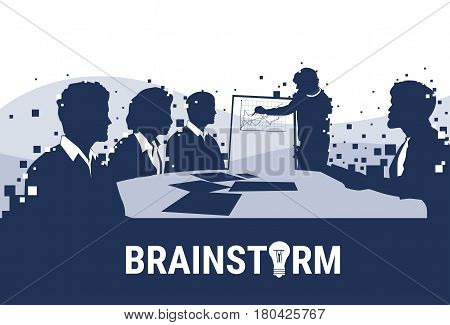 Silhouette Business People Team With Flip Chart Seminar Training Conference Brainstorming Presentation Financial Graph Flat Vector Illustration