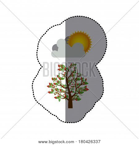 sticker colorful spring picture with leafy tree with cloud and sun vector illustration