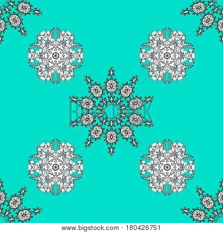 Vector oriental ornament. Seamless oriental ornament in the style of baroque. Traditional classic white pattern. Golden pattern on blue background with white elements.