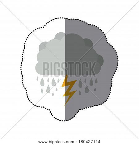 sticker cumulus cloud with rain and thunder vector illustration
